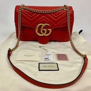 Authentic Gucci GG Marmont Medium Matelasse Red